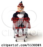 Clipart Of A 3d Buff White Male Maroon Super Hero Pushing A Shopping Cart On A White Background Royalty Free Illustration