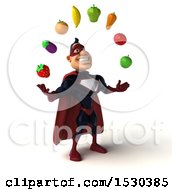Clipart Of A 3d Buff White Male Maroon Super Hero Juggling Produce On A White Background Royalty Free Illustration
