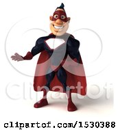 Clipart Of A 3d Buff White Male Maroon Super Hero Presenting On A White Background Royalty Free Illustration