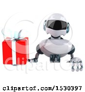 Poster, Art Print Of 3d Blue And White Robot Holding A Gift On A White Background