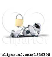 3d Blue And White Robot Holding A Padlock On A White Background