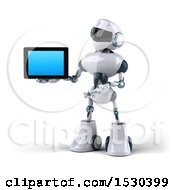 3d Blue And White Robot Holding A Tablet On A White Background