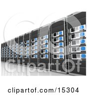 Wall Of Computer Server Towers Clipart Illustration Image