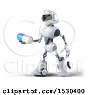Poster, Art Print Of 3d Blue And White Robot Holding A Pill On A White Background
