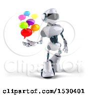 3d Blue And White Robot Holding Messages On A White Background