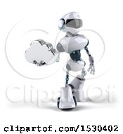 Poster, Art Print Of 3d Blue And White Robot Holding A Cloud On A White Background