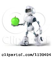 Poster, Art Print Of 3d Blue And White Robot Holding An Apple On A White Background