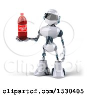 3d Blue And White Robot Holding A Soda On A White Background
