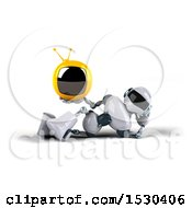 3d Blue And White Robot Holding A Tv On A White Background