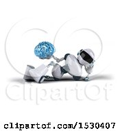 Poster, Art Print Of 3d Blue And White Robot Holding A Brain On A White Background