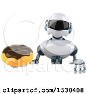 Poster, Art Print Of 3d Blue And White Robot Holding A Donut On A White Background