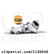 Poster, Art Print Of 3d Blue And White Robot Holding A Burger On A White Background