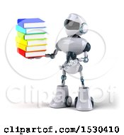 Poster, Art Print Of 3d Blue And White Robot Holding Books On A White Background