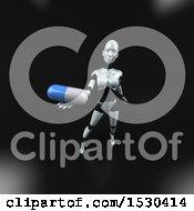 Poster, Art Print Of 3d Feminine Robot Holding A Pill On A Black Background