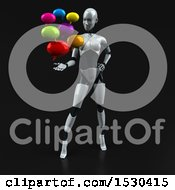3d Feminine Robot Holding Messages On A Black Background