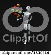 Poster, Art Print Of 3d Feminine Robot Holding Produce On A Black Background