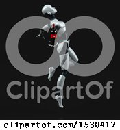 Poster, Art Print Of 3d Feminine Robot Holding Wine On A Black Background