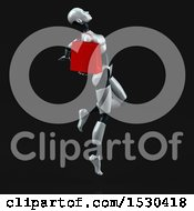 3d Feminine Robot Holding A Shopping Bag On A Black Background