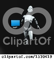 3d Feminine Robot Holding A Tablet On A Black Background