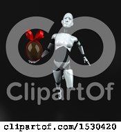 3d Feminine Robot Holding A Chocolate Egg On A Black Background