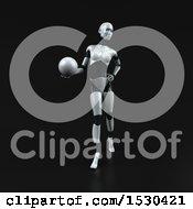 Poster, Art Print Of 3d Feminine Robot Holding A Golf Ball On A Black Background