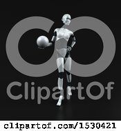 3d Feminine Robot Holding A Golf Ball On A Black Background