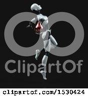 Poster, Art Print Of 3d Feminine Robot Holding A Blood Drop On A Black Background