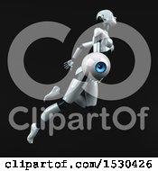 Poster, Art Print Of 3d Feminine Robot Holding An Eye On A Black Background