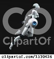 3d Feminine Robot Holding An Eye On A Black Background