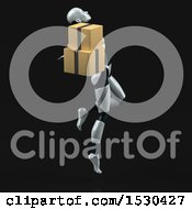 3d Feminine Robot Holding Boxes On A Black Background