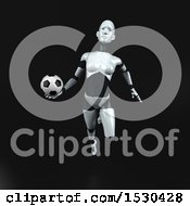 Poster, Art Print Of 3d Feminine Robot Holding A Soccer Ball On A Black Background