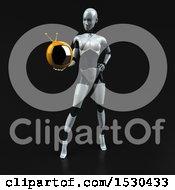 Poster, Art Print Of 3d Feminine Robot Holding A Tv On A Black Background