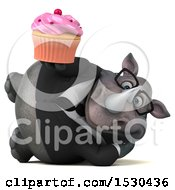 3d Business Rhinoceros Holding A Cupcake On A White Background