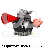 Poster, Art Print Of 3d Business Rhinoceros Holding A Piggy Bank On A White Background