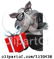 Clipart Of A 3d Business Rhinoceros Holding A Gift On A White Background Royalty Free Illustration