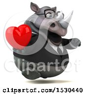Poster, Art Print Of 3d Business Rhinoceros Holding A Heart On A White Background