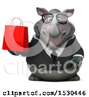 Clipart Of A 3d Business Rhinoceros Holding A Shopping Bag On A White Background Royalty Free Illustration