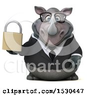 Clipart Of A 3d Business Rhinoceros Holding A Padlock On A White Background Royalty Free Illustration