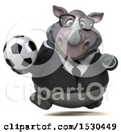 Clipart Of A 3d Business Rhinoceros Holding A Soccer Ball On A White Background Royalty Free Illustration