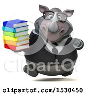 3d Business Rhinoceros Holding Books On A White Background
