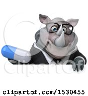 3d Business Rhinoceros Holding A Pill On A White Background