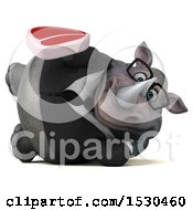 3d Business Rhinoceros Holding A Steak On A White Background