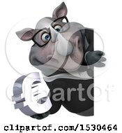 3d Business Rhinoceros Holding A Euro On A White Background