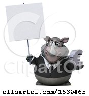 Poster, Art Print Of 3d Business Rhinoceros Holding A Euro On A White Background