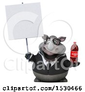 Poster, Art Print Of 3d Business Rhinoceros Holding A Soda On A White Background