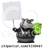 3d Business Rhinoceros Holding A Recycle Bin On A White Background
