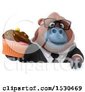3d Business Orangutan Monkey Holding A Cupcake On A White Background