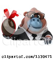 3d Business Orangutan Monkey Holding A Chocolate Egg On A White Background