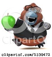 3d Business Orangutan Monkey Holding An Apple On A White Background