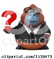 3d Business Orangutan Monkey Holding A Question Mark On A White Background